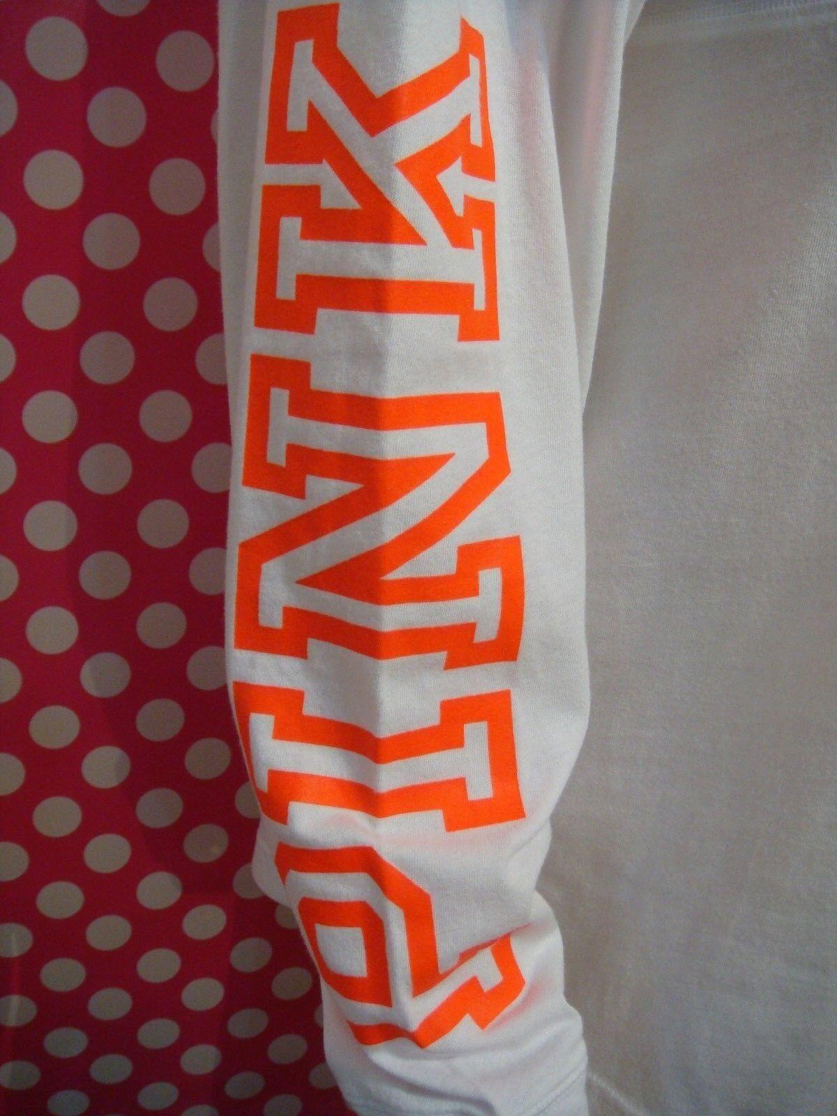 VICTORIA'S SECRET PINK PINK PINK WHITE NEON orange LONG SLEEVE VERSITY T-SHIRT HOODIE XS aba42d