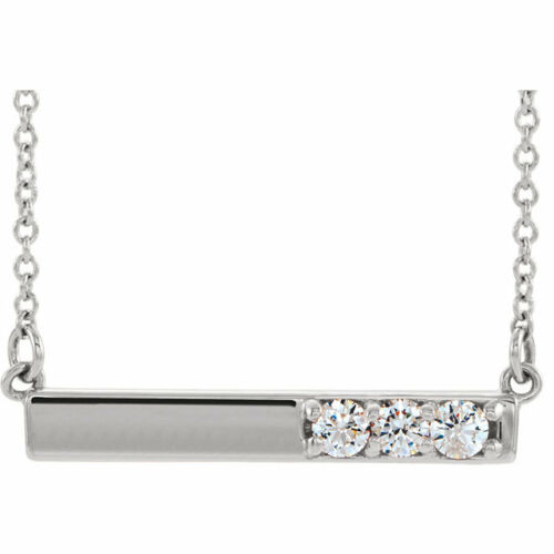 Diamant Barre Collier en Argent (1/5 Ct. Tw