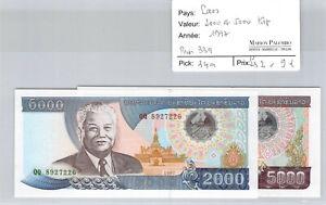 Laos 2000 And 5000 Kip 1997 Pick 33a/34a