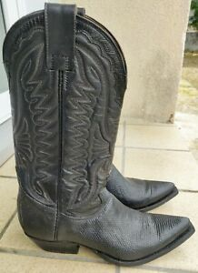 Bottes SANTIAG Mexicana Taille 38 Cuir de bovin et serpent (made in Mexico)