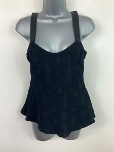 WOMENS-ZARA-TRAFALUC-SMART-CASUAL-BLACK-PATTERNED-PEPLUM-TOP-SIZE-EURO-M-MEDIUM
