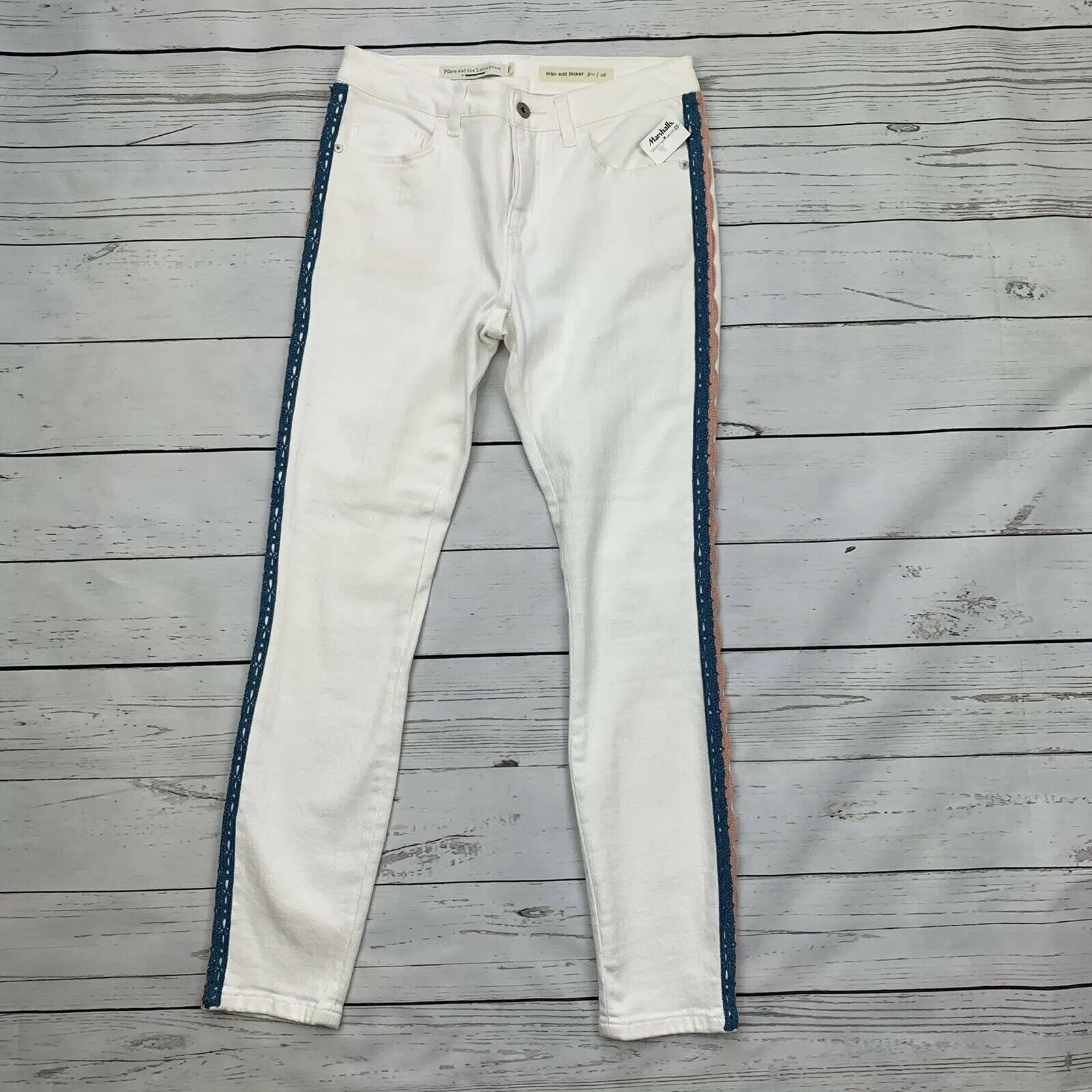 Pilcro and the Letterpress High Rise Skinny Jeans - Size 28 - White Crochet Trim