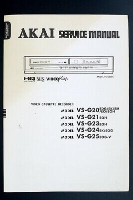 Akai Vs-g20 Vs-g21 Vs-g23/g24/g25 Original Vcr Service-manual/diagram/parts List Um Eine Hohe Bewunderung Zu Gewinnen Und Wird Im In- Und Ausland Weithin Vertraut.