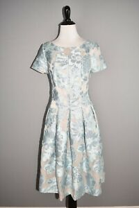 ST. JOHN COLLECTION NEW $1695 Floral Fil Coupé Organza Dress Mint/Silver Size 4