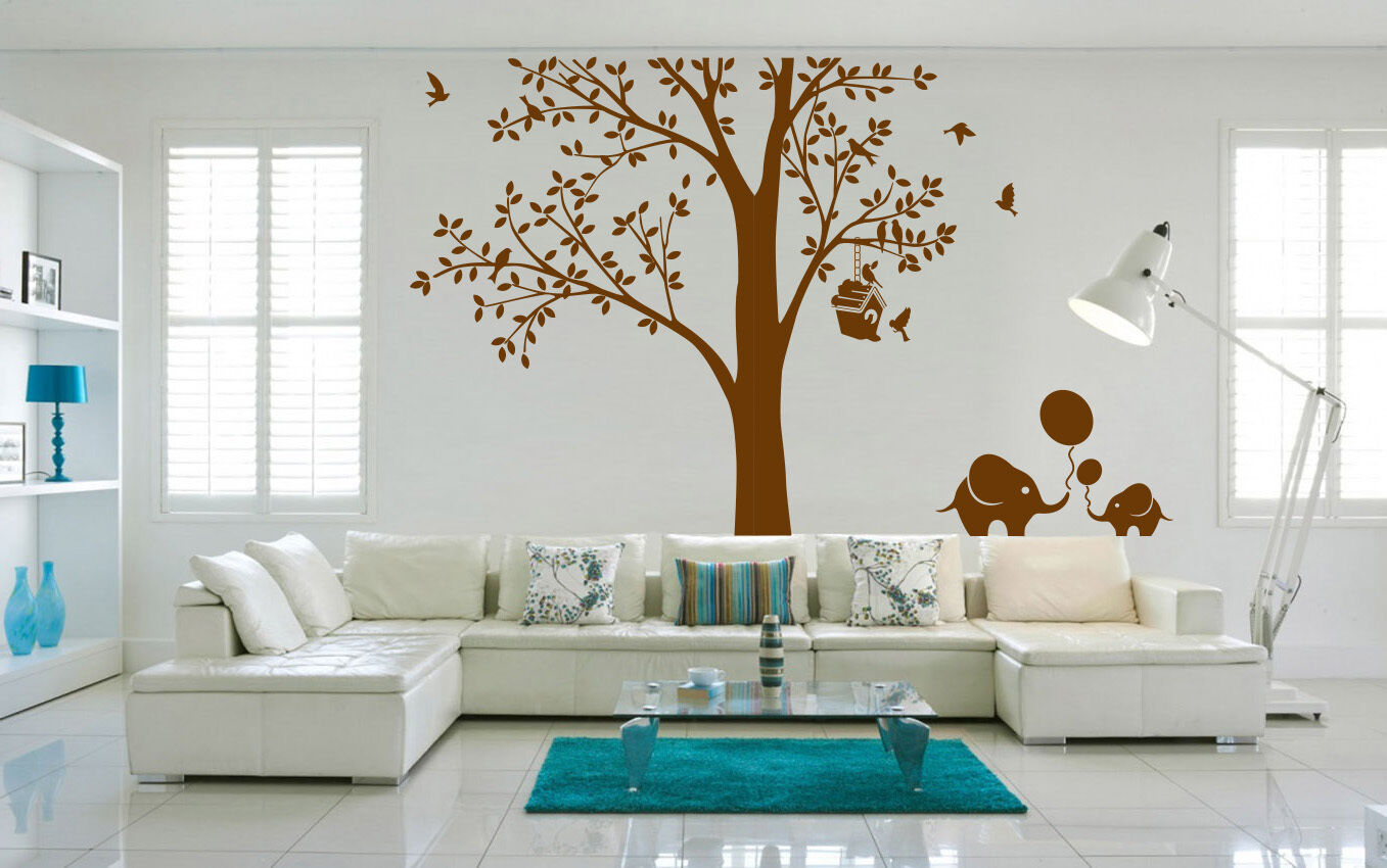 Arbre printemps oiseau éléphant de forêt chambre chambre forêt autocollants muraux vinly decal decor uk RUI245 a042f1