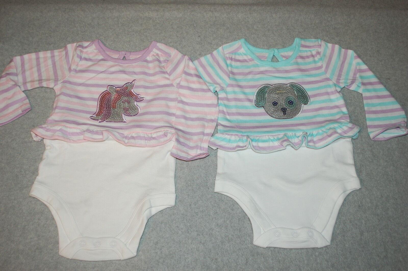 90eda3476891 Baby Girls 2 Lot L s Shirt Layette Bodysuit Sequin Unicorn Puppy ...
