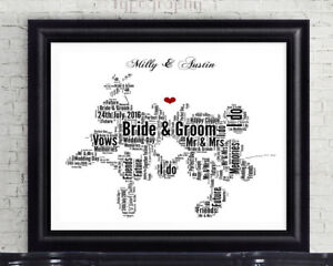 Personalised Disney Mickey /& Minnie Mouse Word Art Gift Wedding Valentines