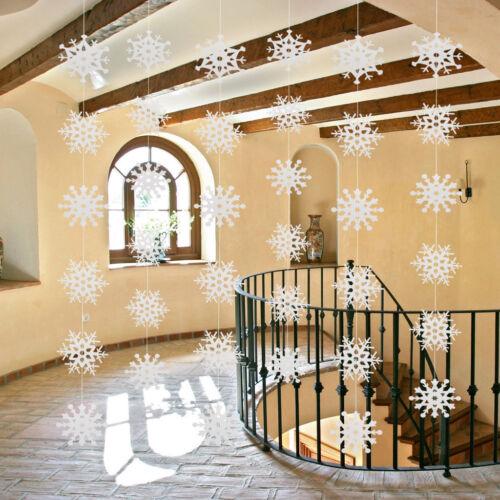 Christmas Snowflake Hanging Garlands Home Ceiling Christmas Decor DIY White