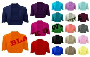 New-Ladies-Women-Girls-Crochet-Knitted-Short-Sleeve-Shrug-Cardigan-Bolero-Top
