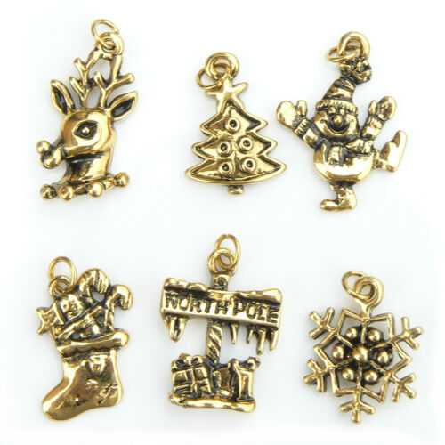 New Gold Plated Craft Christmas Charms Set Of 6 UK Seller jewellery