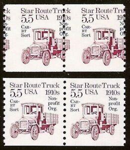 """2125a - 5.5c Misperf Error / EFO Pair """"Star Route Truck"""" Mint NH (Stk3)"""