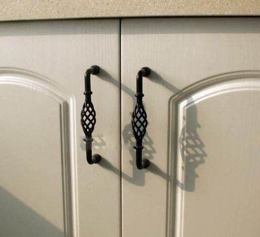 Provincial Kitchen cabinet handles door drawer twist knobs pull black brass