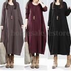 S-5XL ZANZEA Vintage Women Long Sleeve Round Neck Thin Tunic Shirt Dress Kaftan