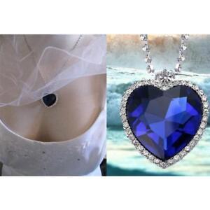 d4378de2dd047 Titanic Heart Of The Ocean Sapphire Blue CZ Crystal Necklace Pendant ...
