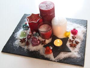 Tischdeko weihnachten natur  1 Stk Natur Schiefer Weihnachtsdeko Tischdeko Weihnachten 40x30 ...