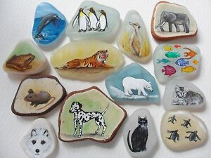 Animal-miniature-paintings-Sea-glass-pottery-Hand-painted-original-art-OOAK