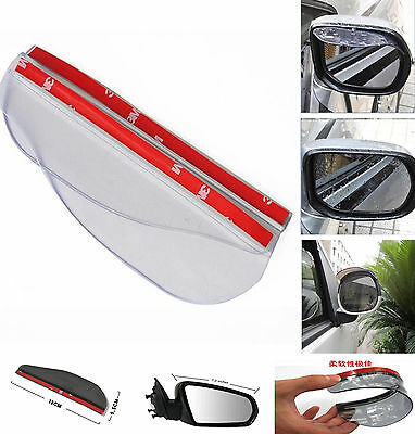2 x Universal Auto Rear Mirror Visor Rain Shield Water Guard Rain Board Eyebrow