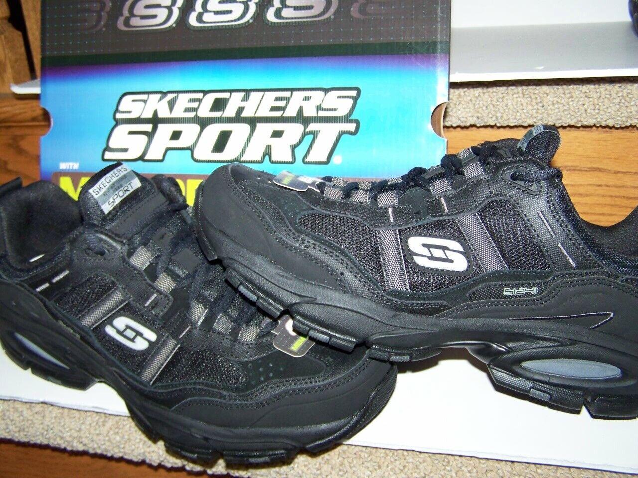 NEW  Skechers Sport Men's 11D Black Leather Active shoes new Memory Foam Insoles
