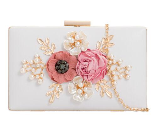 Ladies Faux Leather 3D Floral Box Clutch Bag Pearl Evening Bag Handbag KTL2096