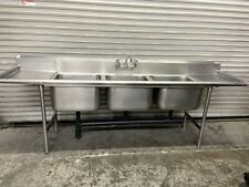 New Listing3 Compartment Sink 102 Stainless 20x20 Basin Tabco Dishwash Nsf Amp Faucet 6691