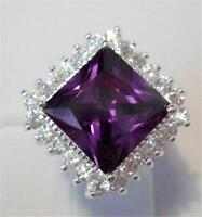 Gorgeous Amethyst/white Topaz Ring Uk Size p Us 9