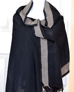 Cotton-Silk-Solid-Black-Color-with-Gray-Border-Soft-Wrap-Stole-Dupatta