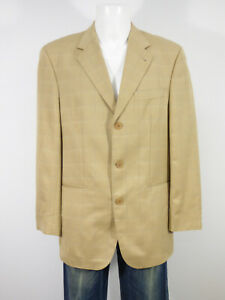 Yves-Saint-Laurent-Mens-Jacket-Size-50-de-Beige-Blue-Check-R-1473