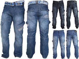 Mens-Crosshatch-Combat-Cargo-Jeans-Denim-Trousers-Stone-Dark-or-Light-Wash-New