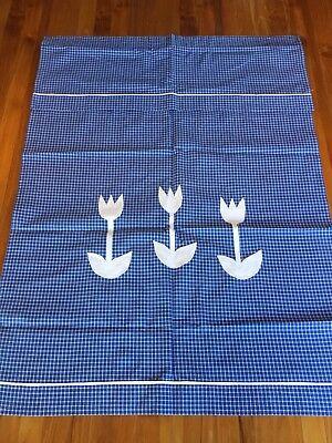 Aggressiv Überhandtuch Blau Weiß Kariert Westfalenstoffe Tulpen Applikation Ca. 96 X 70 Cm