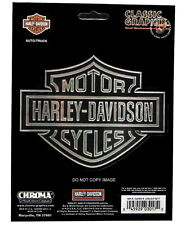 HARLEY DAVIDSON BAR AND SHIELD EMBOSSED CHROME DECAL  ** MADE IN THE USA **