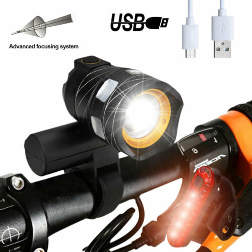 2 x 15000LM USB Rechargeable T6 LED MTB Bicycle Light Bike Rear Front Headlight