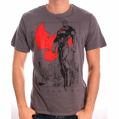 AWESOME DC COMICS SUPERMAN CITY LANDSCAPES SKETCH GREY T-SHIRT *BRAND NEW*
