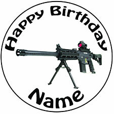 """Military Army Sniper Gun Personalised Round 8"""" Icing Cake Topper - Easy Pre-cut"""
