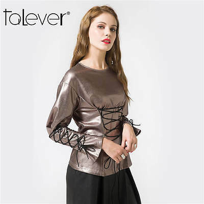 Fashion Women Top Party Jacket Lace-up Faux PU Leather Blazer Metal Outerwear