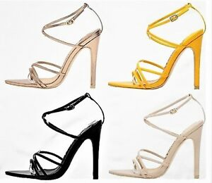 b92ddbe7241 2949 Strappy Patent Shiny Triangle Pointed Open Toe Stiletto High ...