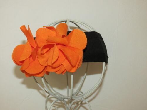 "Halloween Black /& Orange 2/"" Stretch Headband with Cotton Flowers"