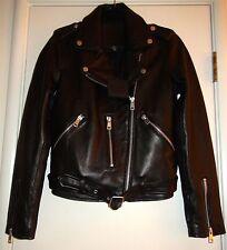 Belle Vere Women's Moto Motorcycle Biker Black Leather Jacket Zipper Cuffs NWT S