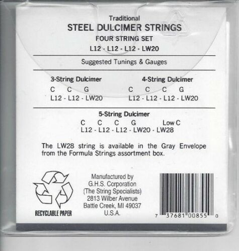 MADE IN THE USA GHS DULCIMER STRINGS SET D20 LOOP END STAINLESS STEEL