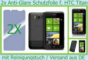 2 x HTC Titan Antireflex Display Schutz folie Set matt Anti Fingerprint Glare DE