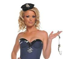 Police Officer Mini Hat Cop Burlesque Dress Up Adult Halloween Costume Accessory