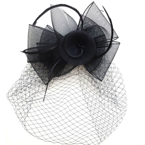 New Handmade Flower with Feather Netting Clip Fascinators Wedding Bridal Race
