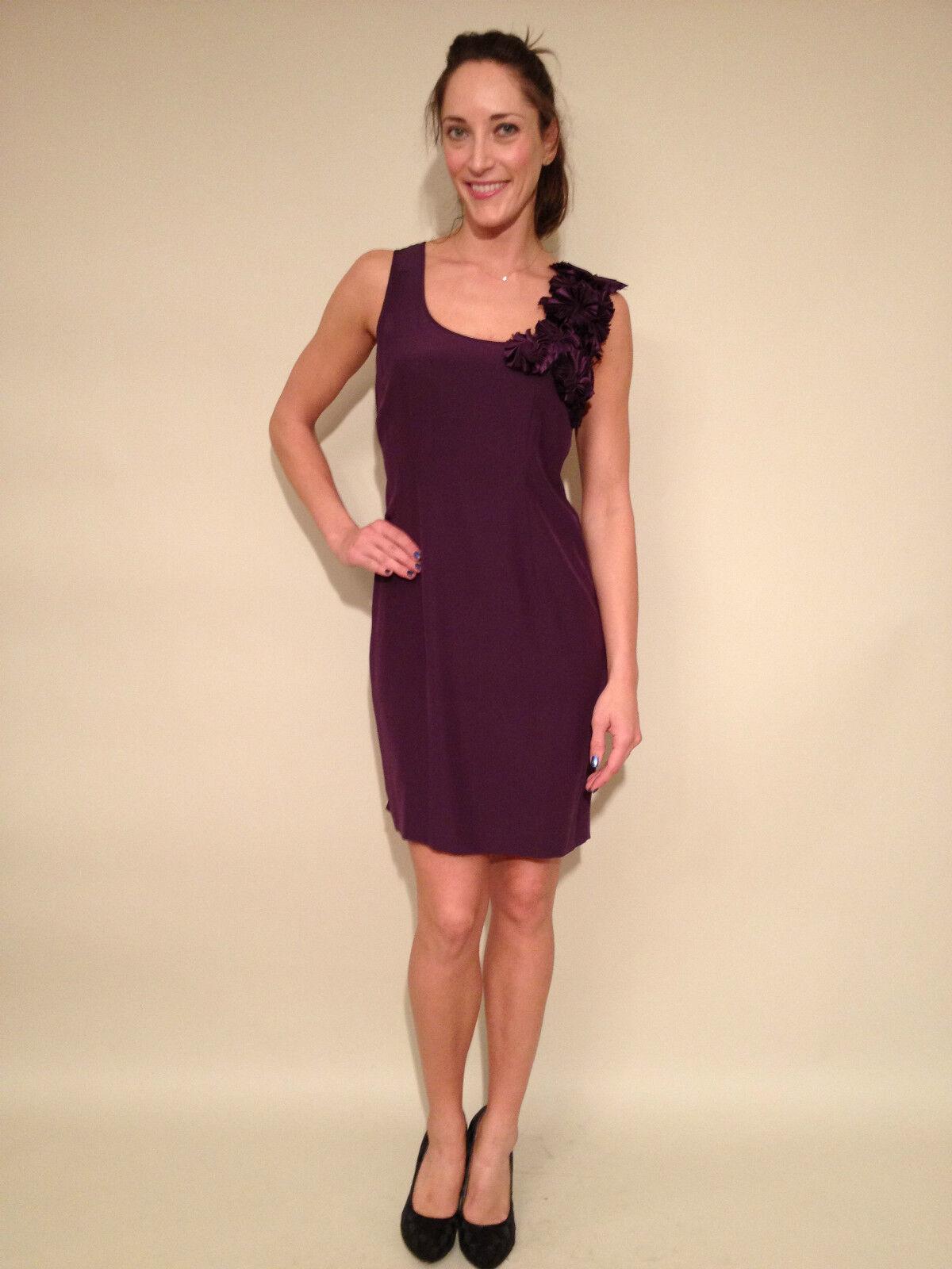 CYNTHIA STEFFE Dark purple Floral Applique Sheath Dress, NWT, NWT, NWT, size 12.   345 8db296