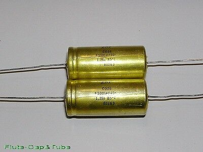 2pcs LMT / SIC-SAFCO RELSIC CO26 1000uF 40V axial Hi-Fi Audio Capacitors.NOS
