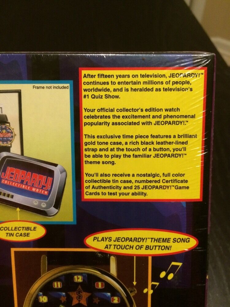 NIB VTG JEOPARDY GAME TV SHOW COLLECTOR WATCH THEME SONG TIN SEALED