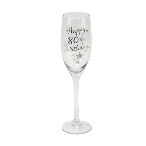 Personnalisé Happy 80th Birthday Champagne Flûte G31880 Gravé message