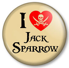 """I Love / Heart JACK SPARROW 25mm 1"""" Pin Button Badge Pirates of the Caribbean"""