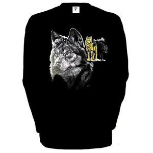 Longsleeve-Lunghe-Nero-Wolf-Animale-Motivo-Natura-Modello-3-Lupo