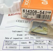 Mitutoyo 614308 541 Square Gage Block 0100075 As 1 Withcertificatemachinist
