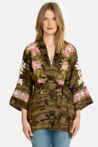 Johnny Was Yuki Linen Embroidered Trapunto Kimono Boho Chic J46719 NEW