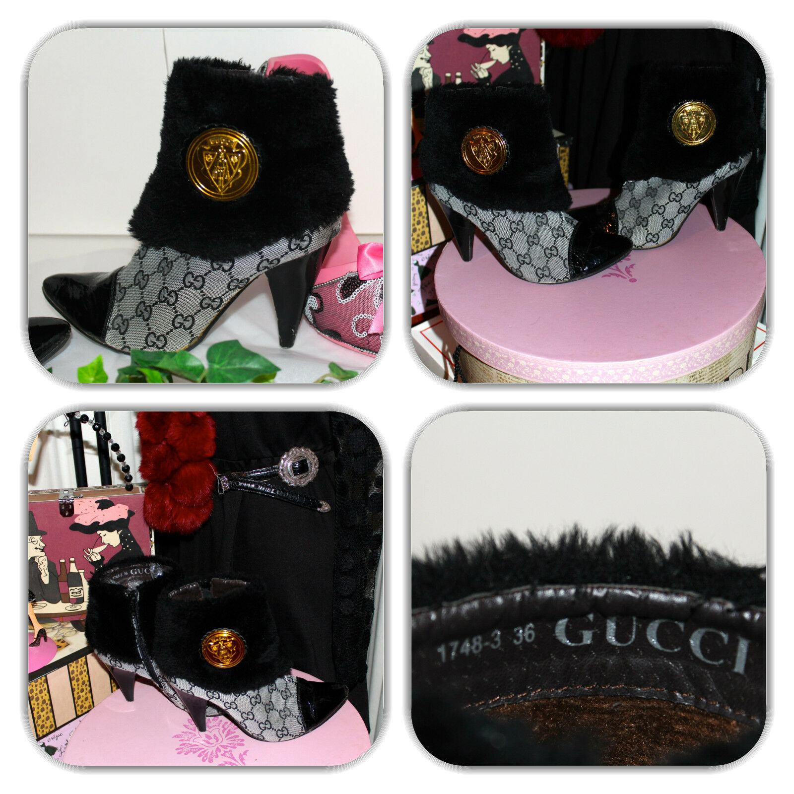 GUCCI GG MONOGRAM BOOTIES SIZE 6 (DIFFERENT & RARE)